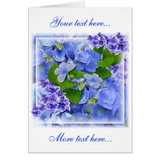 Blaue Hydrangeas und Schmetterlinge Karte