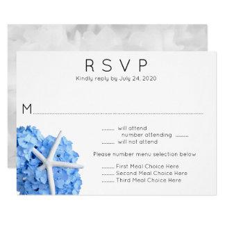 Blaue Hydrangeastarfish-Hochzeits-Menü UAWG Karte