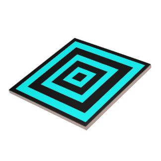 Blaue hypnotische Geometrie Keramikfliese