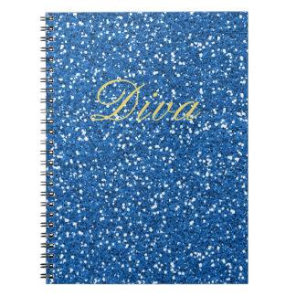 Blaue Imitat-Glitter-Diva Spiral Notizblock