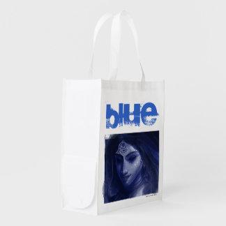 blaue indische Dame Einkaufstasche