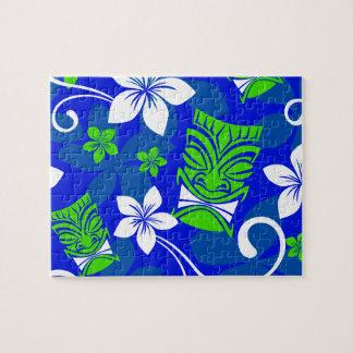 Blaue Insel BlumenTiki Masken Puzzle