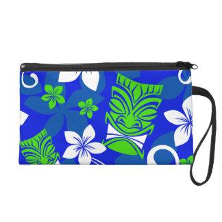 Blaue Insel BlumenTiki Masken Wristlet Handtasche