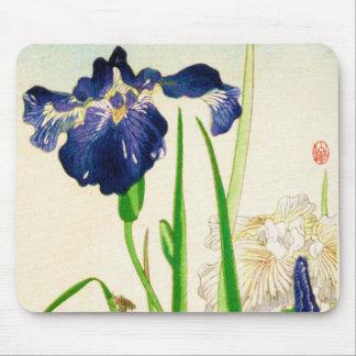 Blaue Iris - japanischer Aquarelldruck Mauspad