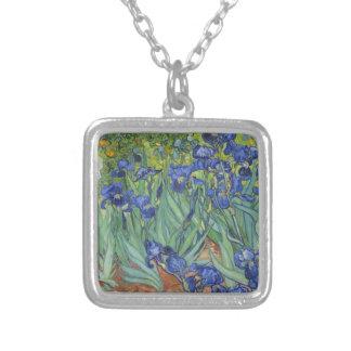 Blaue Iris Versilberte Kette