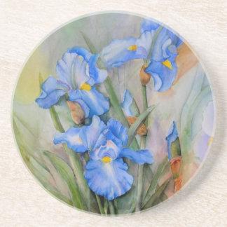 Blaue Iris-Wasserfarbe Getränke Untersetzer