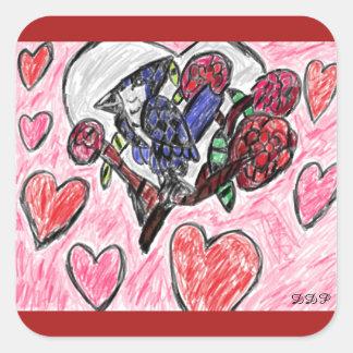 Blaue Jay-Blumen Quadratischer Aufkleber