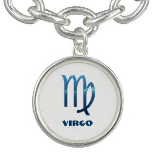 Blaue Jungfrau-Tierkreis-Zeichen auf Weiß Charm Armband