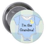 Blaue Kariert-Baby Duschen-Großmutter Anstecknadelbuttons