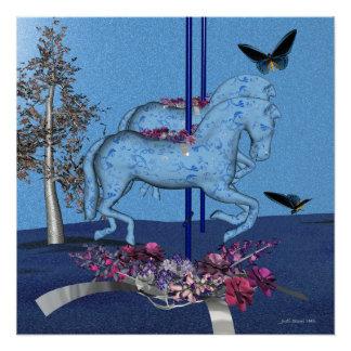 Blaue Karussell-Pferde Poster