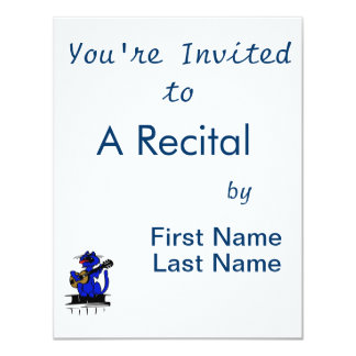 blaue Katze, die Gitarre und singing.png spielt 10,8 X 14 Cm Einladungskarte