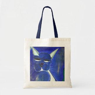 Blaue Katze mit Haltung Budget Stoffbeutel