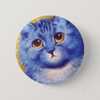 Blaue Katze Runder Button 5,7 Cm
