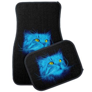Blaue Katzen-Gesicht Autofußmatte