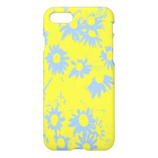 Blaue Kegel-Blumen mit gelbem Hintergrund iPhone 8/7 Hülle