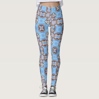 Blaue Kirschblüten-geometrische Gamaschen Leggings