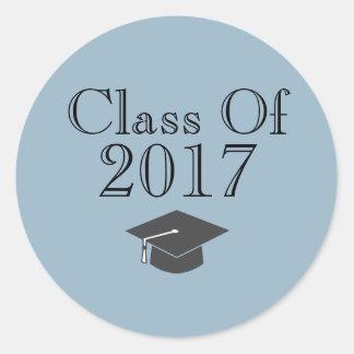 """Blaue """"Klasse von 2017"""" mit Abschluss-Kappe Runder Aufkleber"""