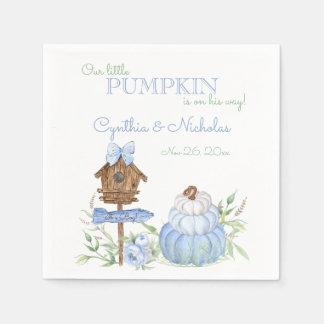Blaue kleine Kürbis-Flecken-Jungen-Babyparty Papierserviette