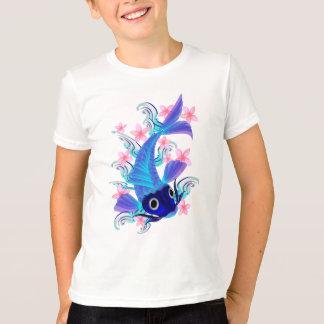 Blaue Koi-Rosa Blumen-Shirts T-Shirt