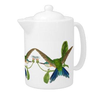 Blaue Kolibri-Vogel-Tier-Blumen-Teekanne