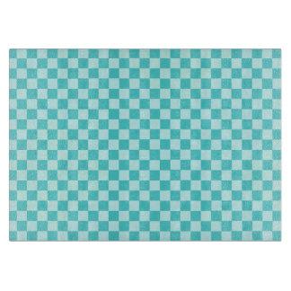 Blaue Kombinations-klassisches Schachbrett durch Schneidebrett