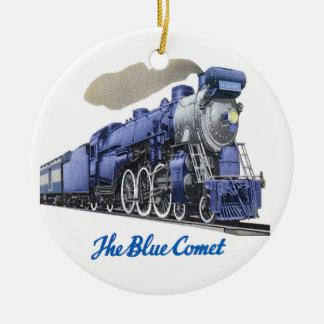 Blaue Kometen-Dampf-Lokomotive Keramik Ornament