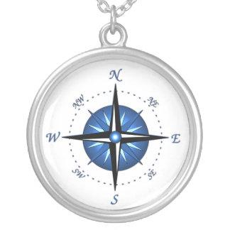 Blaue Kompass-Rose Amulett