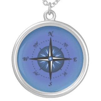 Blaue Kompass-Rose Halskette Mit Rundem Anhänger