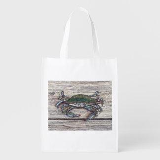 Blaue Krabbe auf Dock-wiederverwendbarer Einkaufstasche