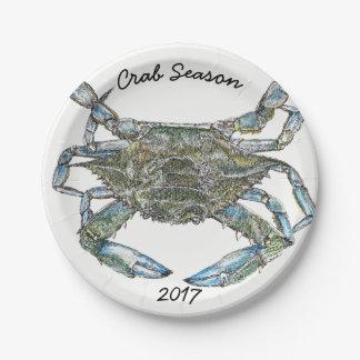 Blaue Krabbe Pappteller