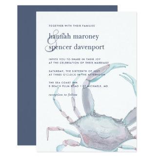 Blaue Krabben-Hochzeits-Einladung Karte