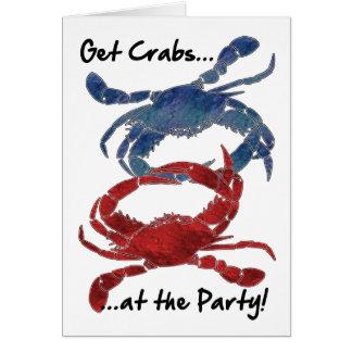 Blaue Krabben-rotes Krabben-Krabben-Fest Karte