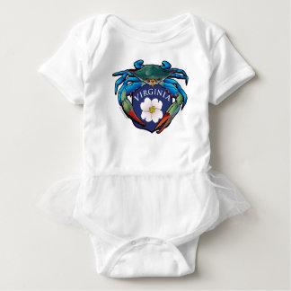 Blaue Krabben-Virginia-Hartriegel-Blüten-Wappen Baby Strampler
