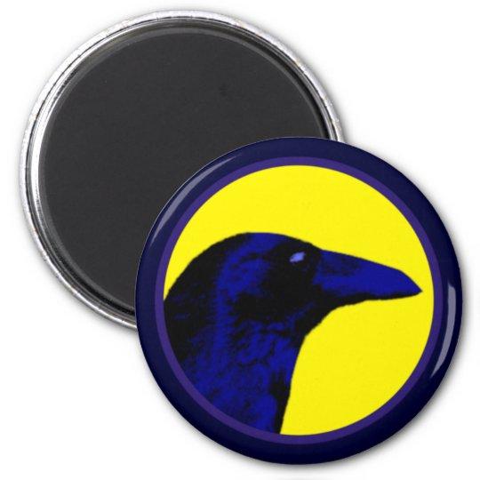 blaue Krähe blue crow Runder Magnet 5,1 Cm