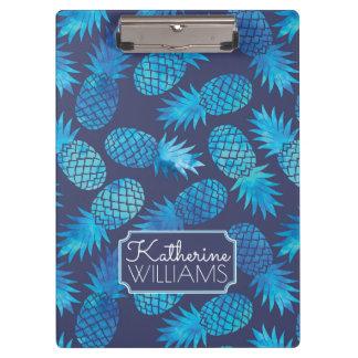 Blaue Krawatten-Ananas | addieren Ihren Namen Klemmbrett
