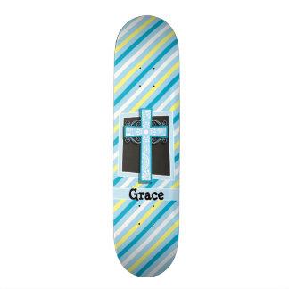 Blaue Kreuz-, Blaue u. Gelbestreifen 18,1 Cm Old School Skateboard Deck