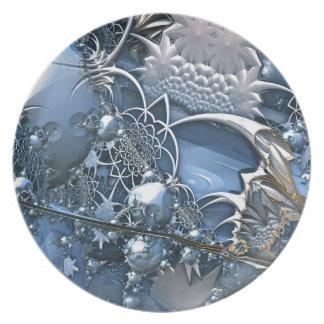 Blaue Kristallfaszination Flacher Teller