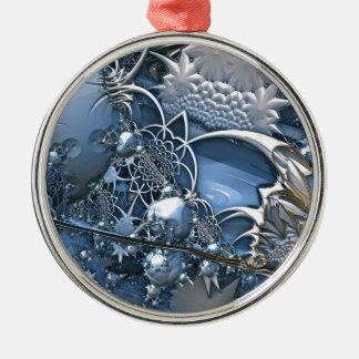Blaue Kristallfaszination Rundes Silberfarbenes Ornament