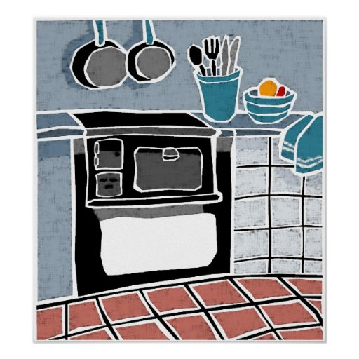Blaue Küche Plakatdrucke