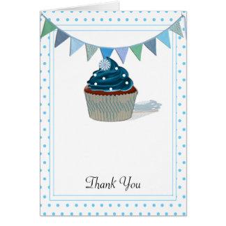Blaue Kuchen-Babyparty danken Ihnen Karten