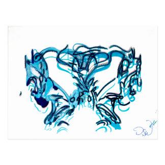 Blaue Kunst - löschen Sie nach innen Postkarte