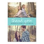 Blaue KursivFoto-Hochzeit danken Ihnen Karten 12,7 X 17,8 Cm Einladungskarte
