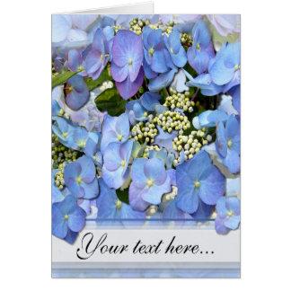 Blaue Lacecap Hydrangeas Karte