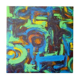 Blaue Lagune-Abstrakte Kunsthandgemalte Keramikfliese