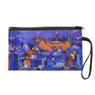 Blaue Landschaft Wristlet Handtasche