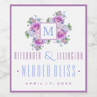 Blaue Lavendelwatercolor-Blumen-Monogramm-Hochzeit Weinetikett