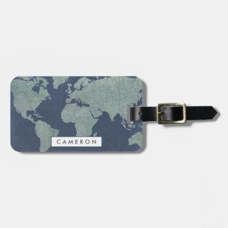 Blaue LeinenWeltkarte Gepäckanhänger
