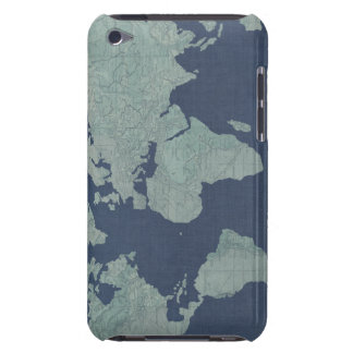 Blaue LeinenWeltkarte iPod Touch Case-Mate Hülle
