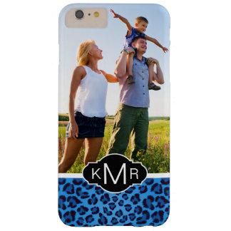 Blaue Leopard-Beschaffenheit des Monogramm-| Barely There iPhone 6 Plus Hülle