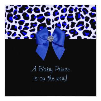 Blaue Leopard-Druck-Babyparty Personalisierte Einladung